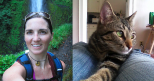 Cayly Christensen, MSOM, L.Ac during a run in the Columbia River Gorge and her cat, Sammy, being cute as usual.